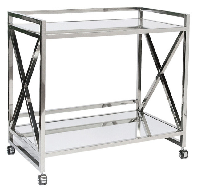 Worlds Away X Bar Cart With Mirrored Tops Gerard Silver