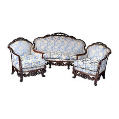 Consigned Antique Walnut Carved Settee U0026 2 Chairs   Living Room Furniture  Sets