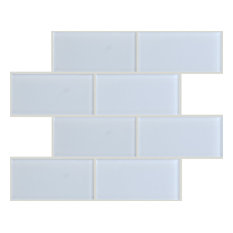 "3""x6"" Crystal Glass Tile, Set of 32 (4 sq ft), White"