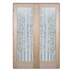 Interior Glass Doors Sans Soucie Art Glass Forest Trees Private Pair
