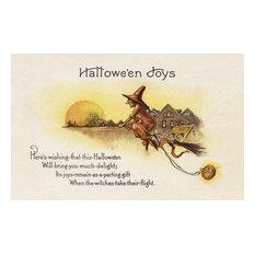 """Halloween Joys, Witch On Broom"" Print, 12""x18"""