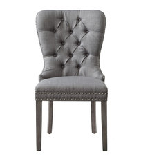 Theo Tufted Dining Chair Nailhead Trim, Set of 2, Light Gray Linen