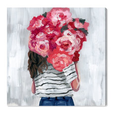 """""""Flower Delivery Girl"""" Canvas Art Print, 90x90 cm"""