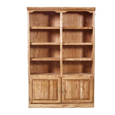 Traditional Bookcase With Lower Doors, Golden Oak