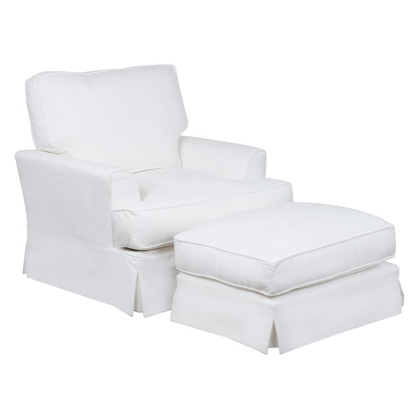 Slipcovered Chair With Ottoman, White