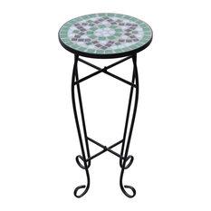 VidaXL Mosaic Side Table/Plant Table, Green/White