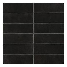 "Cloe 2.5""x8"" Artisan Ceramic Subway Tile, Black"