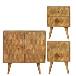 2-Door Cabinet and 2-Drawer Bedsides, 3-Piece Set With Pineapple Carved Fronts