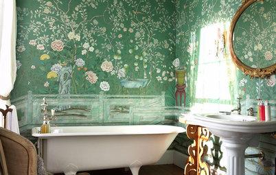 14 underbara badrum med grönskande väggar – fulla av vårkänsla
