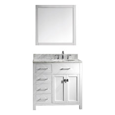 Caroline Parkway Vanity, Without Faucet, With Mirror, Basin: Round, Left Drawers