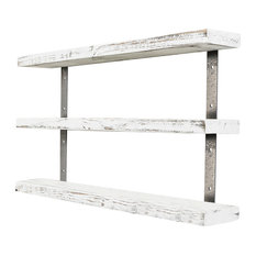Del Hutson Designs Industrial Grace 3-Tier Floating Shelf, White