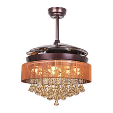 Bronze 46-inch Crystal Chandelier Ceiling Fan with Remote