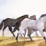 "Turner Fine Art - ""Coming Home"" Limited Edition Print - ""Coming Home"" 19 1/4 x 7 watercolor giclée on rag cotton paper. Edition size: 150. Based on the original work of Kathryn Mapes Turner."