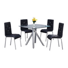 Contemporary 5-Piece Dinette Set With Faux Leather Chairs, Black