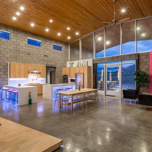 フェニックスのインダストリアルスタイルのおしゃれなキッチン (アンダーカウンターシンク、落し込みパネル扉のキャビネット、中間色木目調キャビネット、クオーツストーンカウンター、白いキッチンパネル、磁器タイルのキッチンパネル、シルバーの調理設備の、コンクリートの床) の写真