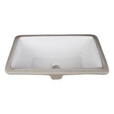 "Hardware Resources H8909WH 18-1/8"" Rectangular Porcelain Undermount Bathroom Si"