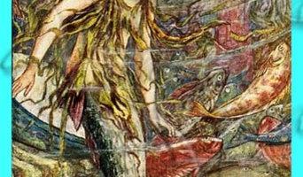 Vintage Mermaid Fabric Block 4 Quilts