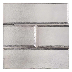 "4""x12"" Gray Glisten Subway Tile Glass Mosaics, Set of 10"