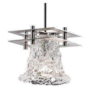 Small Collection Metropolis 1-Light Pendant 2 Flat Bars Justice Design Group ALR-8165-40-MBLK-BKCD Alabaster Rocks