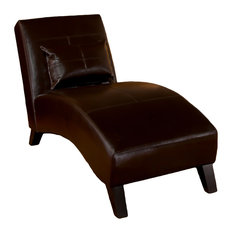 GDFStudio   Brisbane Curved Lounge Chair In Brown Leather   Indoor Chaise Lounge  Chairs