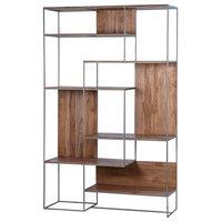 """75""""T Ellen Bookcase Sealed Metal Frame Solid Teak Wood Shelves and Accents"""
