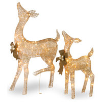 """28"""" & 38"""" Crystal Splendor Champagne Doe and Fawn With 105 Mini Clear Lights"""