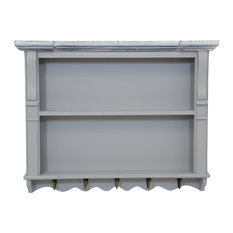 Charles Bentley Grey Shabby Chic Kitchen Wall Shelving Display Unit Dresser Top