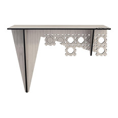 Octagon Laser-Cut Wood Veneer Console Table, Grey
