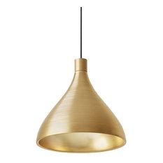 Swell Single Pendant, Brass and Brass, Medium