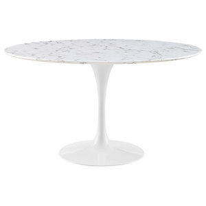 """Modern Contemporary 54"""" Artificial Marble Dining Table, White Metal, 54"""""""