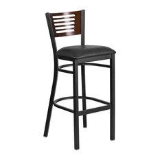Black Slat Back Metal Barstool Walnut Wood Back Black Vinyl Seat