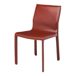 Colter Leather Covered Dining Chair, Bordeaux