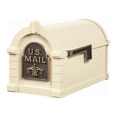 Gaines Mfg Keytone Series Mailbox, Almond, Almond/Antique Bronze, Fleur De Lis