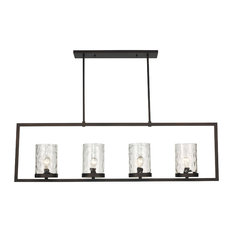 4 Light Pendant in Rubbed Oil Bronze with Water Glass