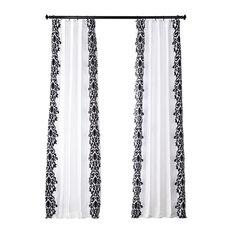 "Castle Flocked FauxSilk Single Panel Curtain, White & Black, 50""x84"""