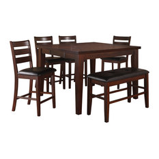 Hollywood Decor   Lida Antique Style Walnut Finished Counter Height Dining  Room Set, 6