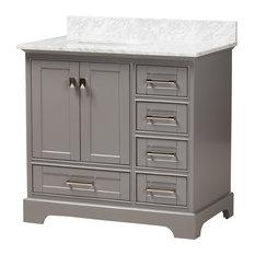 "Fiete 36"" Transitional Gray Wood and Marble Single Sink Bathroom Vanity"
