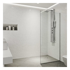 "VIGO Zenith 34""x74"" Frameless Fixed Glass Shower Screen, Chrome"