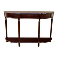 Anzy   Elegant Console Sofa Table With Drawer, Espresso   Console Tables
