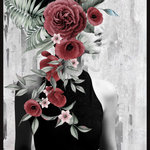 """Marmont Hill Inc. - """"Confidence Is..."""" Floater Framed Painting Print on Canvas, 40x60 - This print is a nod to classic film actresses, with a side profile of a beautiful woman in a black dress. The woman and background is black and white. Layered over the woman's face and hair are big flowers with soft colors of red and pink, with green foliage. Add a touch of glamour into your space with this piece. This piece is printed on canvas before it's stretched, and then framed and mounted in a non-warping floater frame thereafter. With wall-mounting hooks included, this artful accent is ready to hang up as soon as it reaches your front door."""