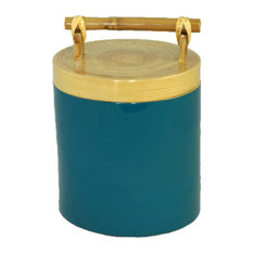 Bamboo Canister With Bamboo Handle, 64 oz., Small, Scuba Blue