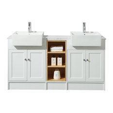 "Stufurhome - Stufurhome Zevan 59"" White Double Sink Bathroom Vanity - Bathroom Vanities and Sink Consoles"