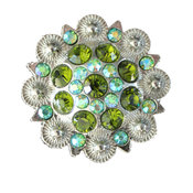 Crystal Drawer Knob with Green and Iridescence Crystals
