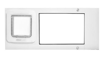 "Thermo Sash, Sureflap Microchip Pet Door, 7""x7""H Flap, Bronze, 25-28"" Wide Range"