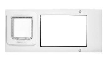 """Thermo Sash, Sureflap Microchip Pet Door, 7""""x7""""H Flap, Bronze, 25-28"""" Wide Range"""
