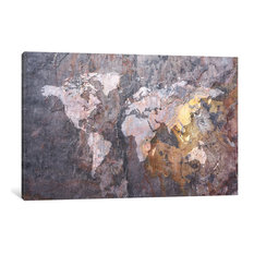 """""""World Map On Stone Background"""" Wrapped Canvas Print, 18x12x0.75"""