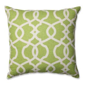 "Lattice Damask Blue 18"" Throw Pillow, Leaf"