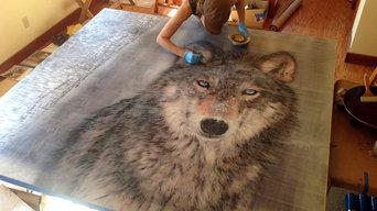 "Montana Residential Commission, Yellowstone Club, grey wolf, 76x73"", fall 2013.."