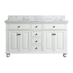 Dustin White Bathroom Vanity With Marble Counter, 60""