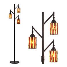 "Clark Tiffany-Style 71"" Multi-Light Floor Lamp, Bronze"